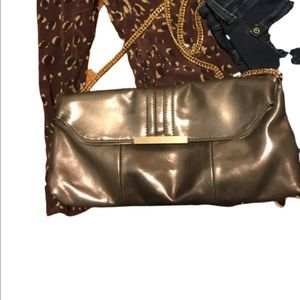 Expressions NYC vegan bronze bag with chain
